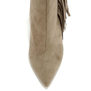 Qupid Shoes - TAN ANKLE FAUX SUEDE FRINGE BOOTIES BOOTS NEW!
